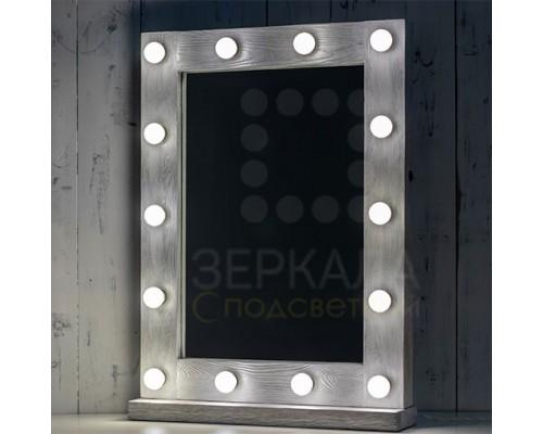 Гримерное зеркало с подсветкой серебристое 80х60