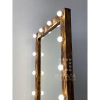 Гримерное зеркало с колесиками 180х80 обожженное дерево