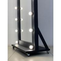 Гримерное зеркало на подставке с колесиками 160x80 черное матовое с подсветкой 18 ламп