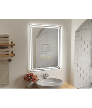 Зеркало в ванную комнату с подсветкой светодиодной лентой Моресс