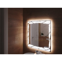 Зеркало в ванную комнату с подсветкой светодиодной лентой Ночетта