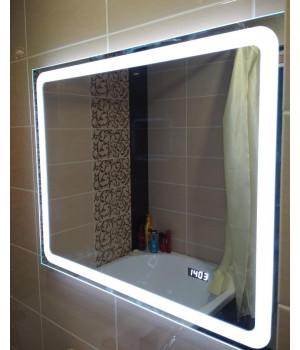 Зеркало для ванной комнаты с LED подсветкой Равенна с часами