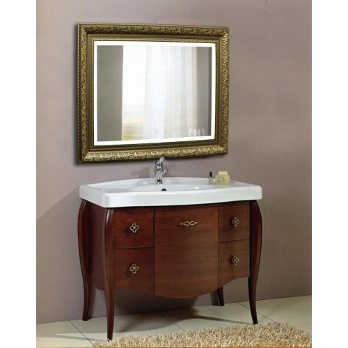 Зеркало в ванную комнату с подсветкой светодиодной лентой Сара